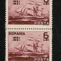 Lp 90a - Semicentenarul Marinei Romane, 6 lei - lot ( o pereche si 2 marci ) - Timbre Romania, An: 1931, Nestampilat