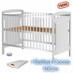 Patut din lemn fara sertar Hubners Karly alb+Saltea - Patut lemn pentru bebelusi