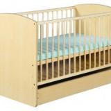 Patut Cu Sertar Klups KAROLINA II Natur - Patut lemn pentru bebelusi