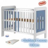 Patut din lemn Hubners Sophie Alb-Blue + Saltea - Patut lemn pentru bebelusi