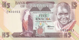 Bancnota Zambia 5 Kwacha (1988) - P25d UNC