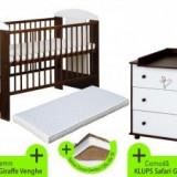 Patut KLUPS Safari Giraffe Wenge + Comoda si Saltea - Patut lemn pentru bebelusi