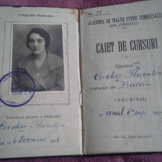 CAIET DE CURSURI 1924 ACADEMIA DE INALTE STUDII COMERCIALE CERNAUTI - Diploma/Certificat