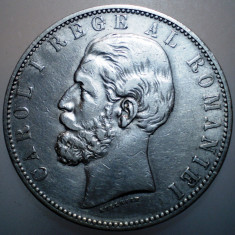 R.199 ROMANIA CAROL I 5 LEI 1883 ARGINT 25g - Moneda Romania