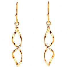 Cercei din aur galben 14K - spirale lucioase, tortițe africane - Cercei aur