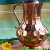 VECHI CEAINIC DIN METAL SUFLAT CU ARAMA - Metal/Fonta, Ornamentale