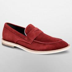 Mocasini CALVIN KLEIN Andron - Pantofi Barbati - Piele Naturala - 100% AUTENTIC, 42, Visiniu, Calvin Klein