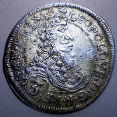 G.330 UNGARIA LEOPOLD I 3 KRAJCZAR 1698 CH XF ARGINT 1, 52g/21mm - Moneda Medievala, Europa