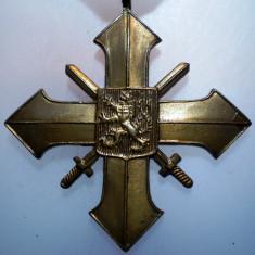 I.279 CEHOSLOVACIA WWII DECORATIE MILITARA CRUCEA DE RAZBOI 1939 45mm BRONZ, Europa