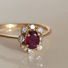 Inel Din Aur Cu Rubin Si Diamante Splendid !Oferta!