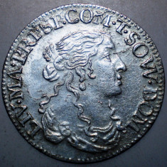G.328 ITALIA TASSAROLO LIVIA CENTURIONI 1 LUIGINO 1666 XF ARGINT 2, 17g/21mm - Moneda Medievala, Europa