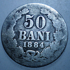 7.807 ROMANIA CAROL I 50 BANI 1884 ARGINT 2, 2g - Moneda Romania
