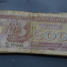 200 cupoane Karbovanets 1992 Ucraina VF - bancnota europa
