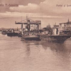 SALUTARI DIN TURNU SEVERIN PORTUL SI SANTIERUL NAVAL CIRCULATA 1923 - Carte Postala Oltenia dupa 1918, Printata