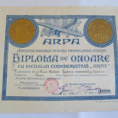 RARA! DIPLOMA DE ONOARE ARPA(AS.NAT. PROPAGANDA AVIATIEI) 6 ANI 1927-1933 - Brevet