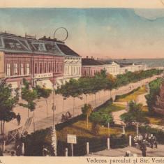 TURNU SEVERIN VEDEREA PARCULUI SI STRADA VESTEI CIRCULATA 1915 - Carte Postala Oltenia 1904-1918, Printata