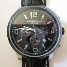 Ceas barbatesc MontBlanc Quartz/cronograph in stare perfecta de functionare, Lux - elegant, Inox, Piele, Cronograf