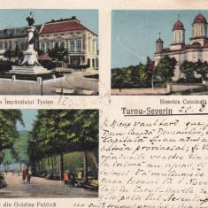 TURNU SEVERIN BISERICA CATEDRALA STATUIA IMPARATULUI TRAIAN GRADINA CIRC.1931 - Carte Postala Oltenia dupa 1918, Circulata, Printata