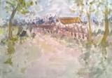 Peisaj cu casa in Arges, Peisaje, Acuarela, Impresionism