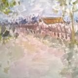 Peisaj cu casa in Arges - Pictor roman, Peisaje, Acuarela, Impresionism