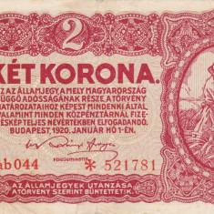 UNGARIA 2 korona 1920 VF+++!!! - bancnota europa