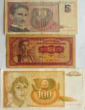 Lot/Set 3 Bancnote YUGOSLAVIA: 5 NovaDinara 1994, 100 Dinari 1955- 1990 *cod 460