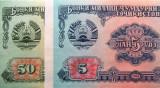 Lot/Set 2 Bancnote 5 + 50 Ruble - TADJIKISTAN, anul 1994 *cod 461 UNC