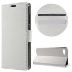 Husa Flip Cu Stand Lenovo ZUK Z2 Litchi Style Alba - Husa Telefon