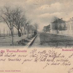 SALUTARI DIN TURNU SEVERIN BULEVARDUL CAROL I CLASICA CIRCULATA 1900 - Carte Postala Oltenia pana la 1904, Printata