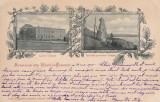 SOUVENIR DIN TURNU SEVERIN  LICEUL TRAIAN RUINELE PODULUI TRAIAN CLASICA  C.1900, Circulata, Printata