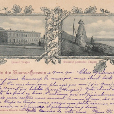 SOUVENIR DIN TURNU SEVERIN LICEUL TRAIAN RUINELE PODULUI TRAIAN CLASICA C.1900 - Carte Postala Oltenia pana la 1904, Circulata, Printata