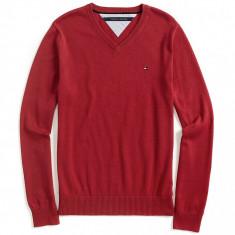 Bluza TOMMY HILFIGER - Pulover, Bluze Barbati - 100% AUTENTIC - Bluza barbati Tommy Hilfiger, Marime: S, Culoare: Rosu, Bumbac