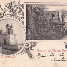 SALUTARI DIN TURNU SEVERIN BISERICA GRECEASCA RUINELE SEVER CLASICA CIRC. 1900 - Carte Postala Oltenia pana la 1904, Necirculata, Printata, Drobeta-Turnu Severin