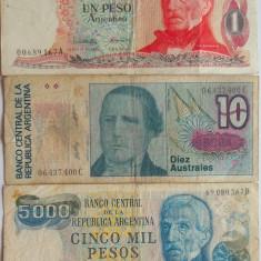 Lot/Set 3 Bancnote ARGENTINA: 1 Peso, 5000 Pesos, 10 Australes *cod 459 - bancnota america, An: 1983