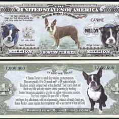 NOU : SUA = FANTASY NOTE = BOSTON TERRIER - 2016 - UNC / SERIA DOG LOVER - bancnota america