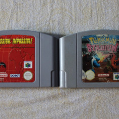 2 Casete N64 Nintendo 64 ( Pokemon Stadium si Mission Impossible )