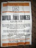 Afis la Teatrul Mic - piesa Diavolul si Bunul Dumnezeu 1982 ,dim. =70 x100 cm