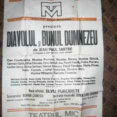 Afis la Teatrul Mic - piesa Diavolul si Bunul Dumnezeu 1982, dim. =70 x100 cm