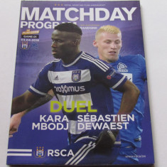 Program meci fotbal ANDERLECHT - GENK 03.04.2016 (contine si poster)