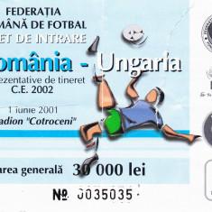 Bilet meci fotbal ROMANIA - UNGARIA (01.06.2001-CE de tineret 2002)