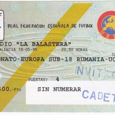 Bilet meci fotbal ROMANIA - UCRAINA (18.05.1995-Campionatul European U18)