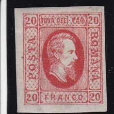 ROMANIA 1865 LP 17 ALEXANDRU IOAN CUZA VAL.20 PARALE ROSU CU SARNIERA - Timbre Romania, Nestampilat