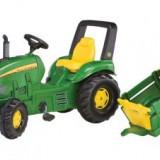 Tractoras 3-10Ani cu Remorca si Pedale RollyToys Verde