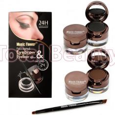 Set 2 in 1 + Eyeliner Gel 2 culori + 2 x pudra sprancene + pensula aplicare - Tus ochi