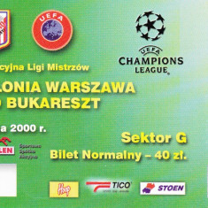 Bilet meci fotbal POLONIA VARSOVIA-DINAMO Bucuresti (02.08.2000)