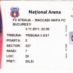 Bilet meci fotbal STEAUA Bucuresti - MACCABI HAIFA 03.11.2011