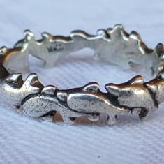 Inel argint DELFINI inlantuiti tip Verigheta Finut Delicat de Efect vintage