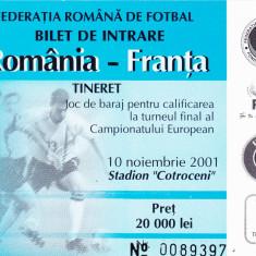 Bilet meci fotbal ROMANIA - FRANTA (10.11.2001-selectionate tineret)