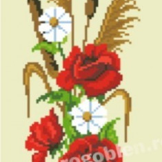 Ikebana cu trandafiri - goblen cu diagrama alb/negru - Broderie