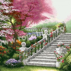 Treptele iubirii - goblen cu diagrama alb/negru - Broderie